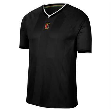 Nike Court Breathe Slam Crew Shirt Mens Black/White CK9799 010