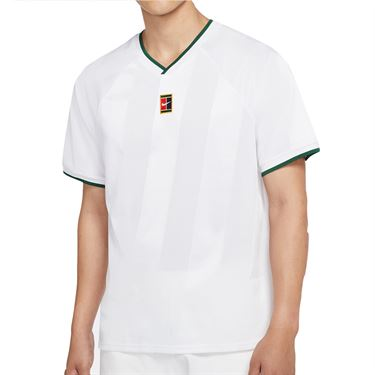 Nike Court Breathe Slam Crew Shirt Mens White/Gorge Green CK9799 100