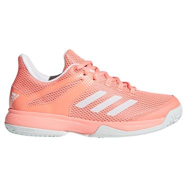 adidas adiZero Club K Junior Tennis Shoe - Chalk Coral/White/Blue Tint