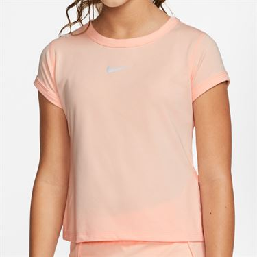 Nike Girls Court Dry Top Washed Coral/White CQ5386 664
