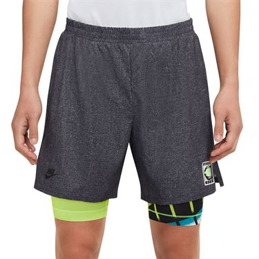 Nike Challenge Court Flex Ace Short - Black/Hot Lime/Neo Teal