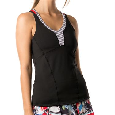 Lucky in Love Bloomy Dimensions Double Cross Cami - Black