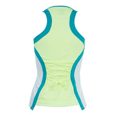 Lucky in Love Haviana Active Fit Laced Racerback Tank - White/Lemon Frost