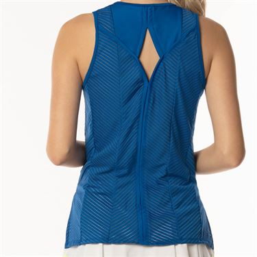 Lucky in Love Axis Point Shadow Stripe Tank - Electric Blue
