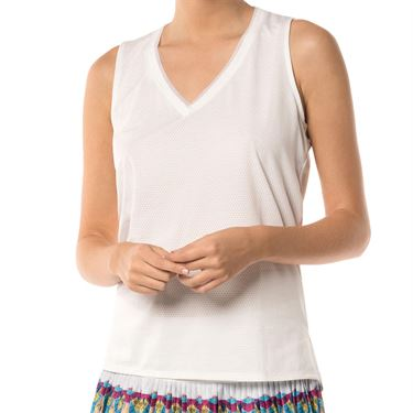 Lucky in Love Core Relaxed Racer Tank - White