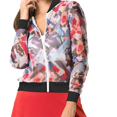 Lucky in Love Bloomy Dimensions Mesh Bomber Jacket - Bloomy Print/White