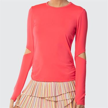 Lucky In Love Neon Vibes Active Fit Olympian Long Sleeve Top - Coral Crush