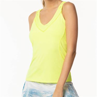 Lucky in Love Axis Point Entwine Racerback Tank - Neon Yellow