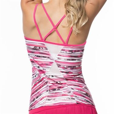 Lucky In Love Tropic Chroma Strappy Tank Womens Shocking Pink CT532 826645