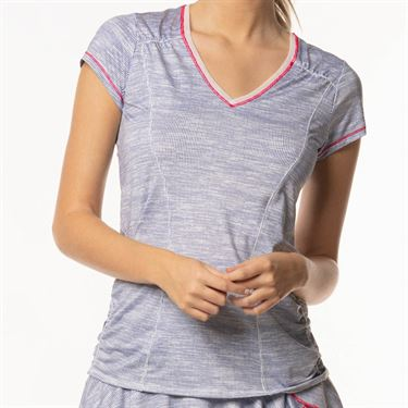 Lucky in Love Shape It Up Active Fit Mixed Media Top - Blueberry