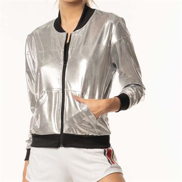 Lucky in Love Go For the Metal Metallic Bomber Jacket - Silver