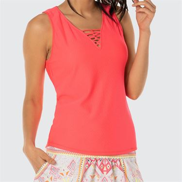 Lucky In Love Neon Vibes Chill Fit Harmony Laced Tank - Coral Crush