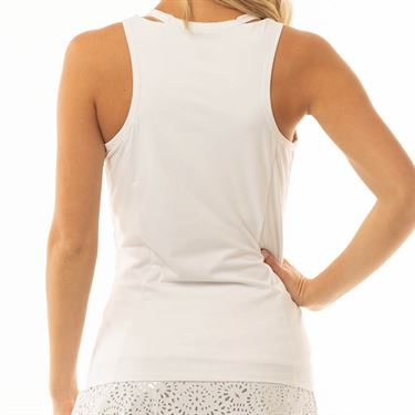 Lucky in Love Metallic V Neck Cutout Tank Womens White/Silver CT570 857135