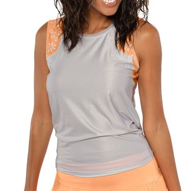 Lucky in Love Eyelet Go Lace Track Tie Back Tank Womens Orange Frost CT573 C08824