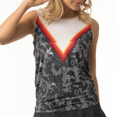 Lucky in Love Camo Groove Tie Back Tank Womens Charcoal CT580 872040