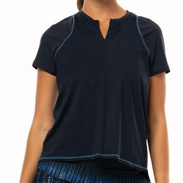 Lucky in Love Lite Speed Viper Tie Back Short Sleeve Top Womens Midnight CT597 401