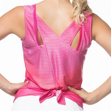 Lucky In Love Tropic Chroma Horizon Ombre Tie Tank Womens Shocking Pink CT602 827645