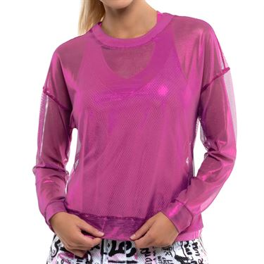 Lucky in Love City Graffiti Goddess Mesh Long Sleeve Top Womens Passion Pink CT604 689