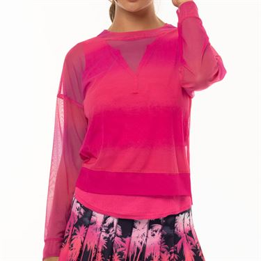 Lucky In Love Tropic Chroma Horizon Ombre Mesh Long Sleeve Top Womens Shocking Pink CT604 824645