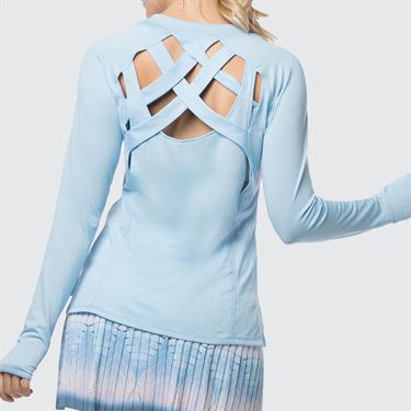Lucky in Love Celestial Geo Chill Fit Velocity Criss Cross Long Sleeve Top - Bluebell