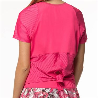 Lucky In Love Tropic Chroma Viper Tie Back Short Sleeve Top Womens Shocking Pink CT613 645