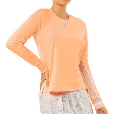 Lucky in Love Eyelet Go High Low Rib Long Sleeve Top Womens Orange Frost CT616 824