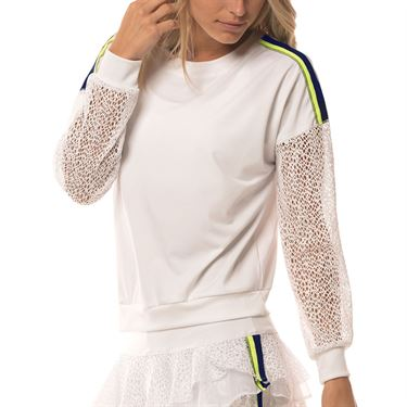 Lucky in Love Lace Yourself In The Net Long Sleeve Pullover Womens White CT638 120
