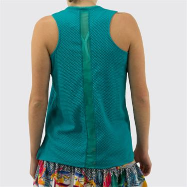 Lucky in Love Wavy Relaxed Racerback Tank Womens Teal CT639 308