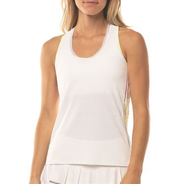 Lucky in Love Mad About Plaid Micro V Neck Tank Womens White CT649 120