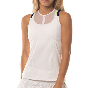 Lucky in Love Lace Yourself Hi Zip Mesh Cami Womens White CT654 120