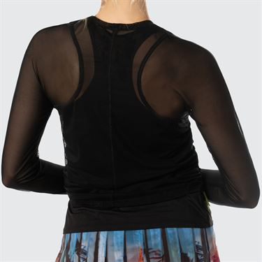 Lucky in Love Meshing Around Layer Up Mesh Long Sleeve Top Womens Black CT655 001