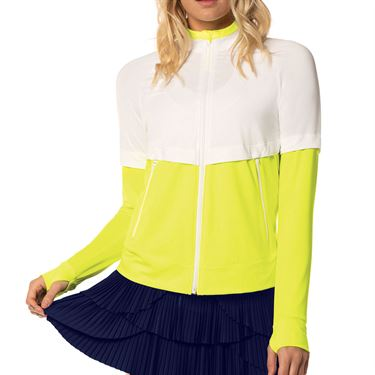 Lucky in Love Lace Yourself Bonjour Jacket Womens Neon Yellow CT663 710