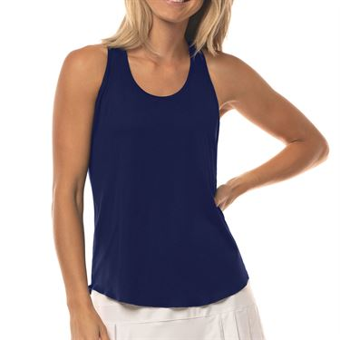 Lucky in Love Lace Yourself Back Mesh Rib Tank Womens Midnight CT664 401