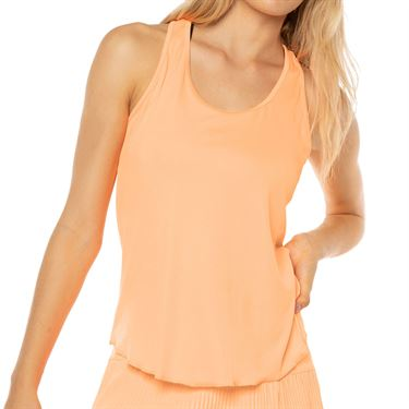 Lucky in Love Eyelet Go Back Mesh Rib Tank Womens Orange Frost CT664 824