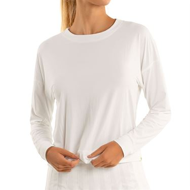 Lucky In Love LUV Hype Long Sleeve Top Womens White CT668 110