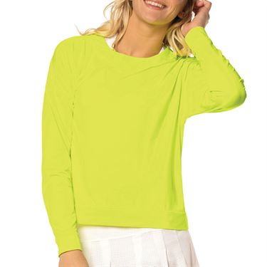 Lucky in Love L UV Protection Hype Long Sleeve Top Womens Neon Yellow CT668 710