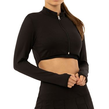 Lucky in Love Rockin Rococo Cropped Moto Long Sleeve Top Womens Black CT713 001