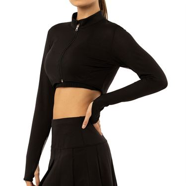 Lucky in Love Rockin' Rococo Cropped Moto Long Sleeve Top