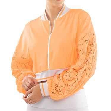 Lucky in Love Eyelet Go Lace Cropped Bomber Jaket Womens Orange Frost CT725 824