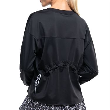Lucky in Love Ruche Back Long Sleeve Top Womens Black CT734 001