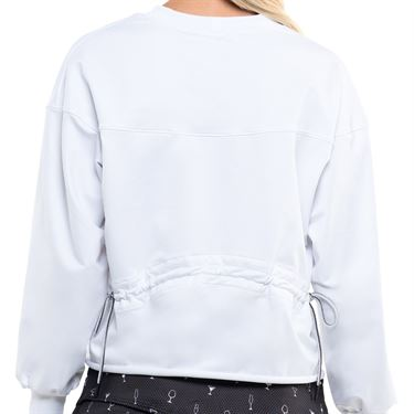 Lucky in Love Ruche Back Long Sleeve Top Womens White CT734 110
