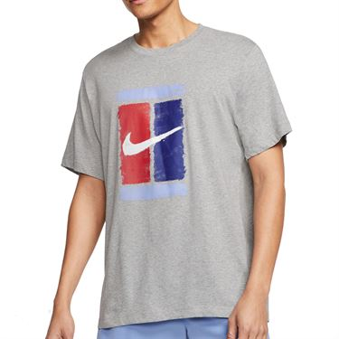 Nike Court Tee Shirt Mens Dark Grey Heather CU0329 063