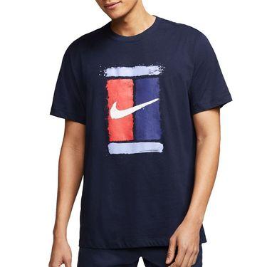 Nike Court Tee Shirt Mens Obsidian CU0329 451