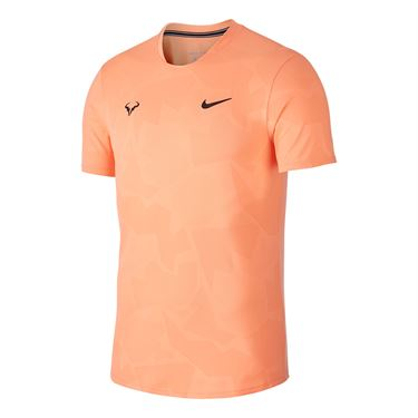 Nike Court AeroReact Rafa Shirt Mens Orange Pulse/Gridiron CU7916 892