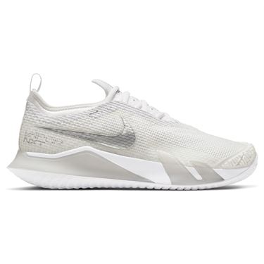 Nike Court React Vapor NXT Womens Tennis Shoe White/Metallic Silver/Grey Fog CV0742 100