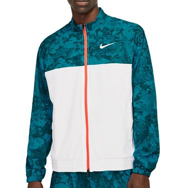Nike Court Full Zip Jacket Mens Green Abyss/White/Bright Mango CV2475 301