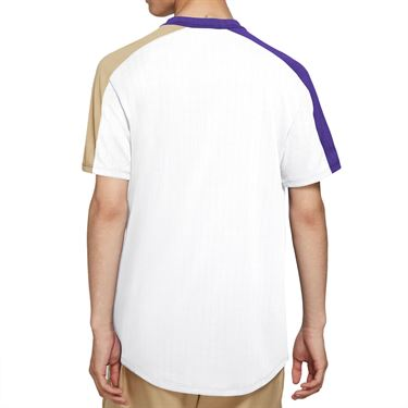 Nike Court Breathe Slam Crew Shirt Mens White/Wild Berry/Parachute Beige/Black CV2491 100