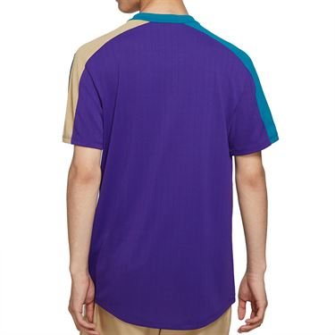 Nike Court Breathe Slam Crew Shirt Mens Court Purple/Green Abyss/White CV2491 547