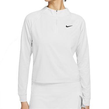 Nike Court Dri FIT Victory Long Sleeve Top Womens White/Black CV4697 100