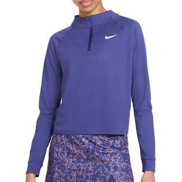 Nike Court Dri FIT Victory Long Sleeve Top Womens Dark Purple Dust/White CV4697 510